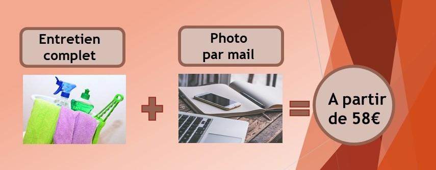 encadré avec deux images, la première représente des produits d'entretien, la deuxième représente un ordinateur, un téléphone et un cahier.