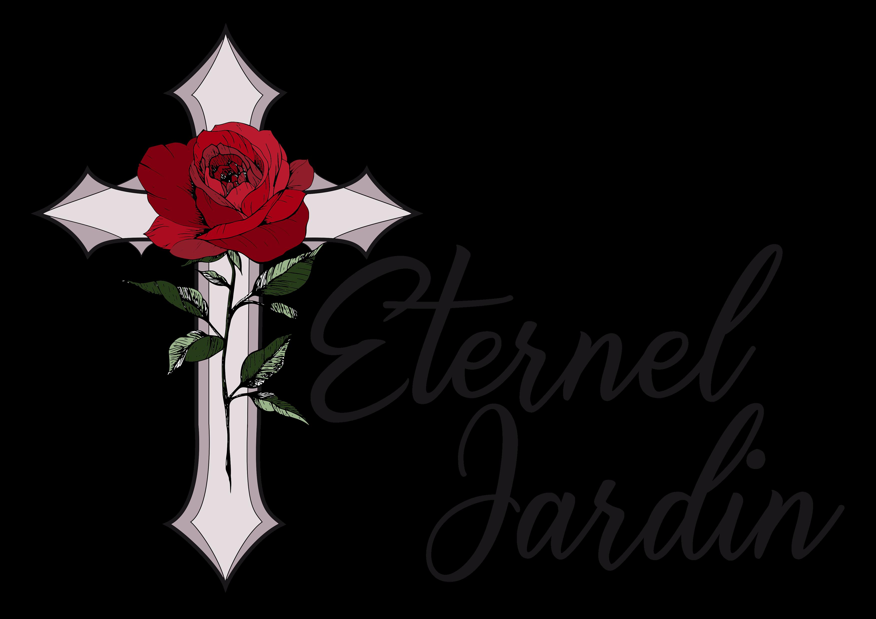 Logo d'Eternel Jardin, une croix avec une rose rouge par dessus