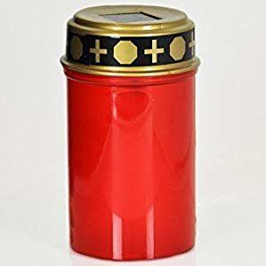 Lampe tombale solaire, de couleur rouge, avec un couvercle doré