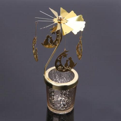 Photophore, bougeoir, carrousel rotatif chat doré avec un contenant en verre moucheté doré