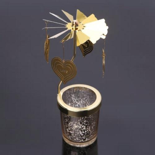 Photophore, bougeoir, carrousel rotatif coeur doré avec un contenant en verre moucheté doré