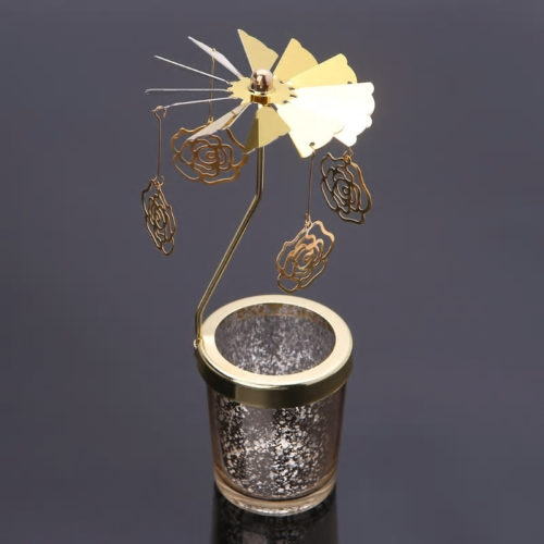 Photophore, bougeoir, carrousel rotatif fleur doré avec un contenant en verre moucheté doré