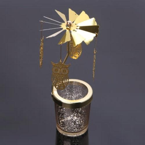 Photophore, bougeoir, carrousel rotatif hibou doré avec un contenant en verre moucheté doré