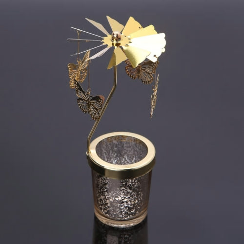 Photophore, bougeoir, carrousel rotatif papillon doré avec un contenant en verre moucheté doré