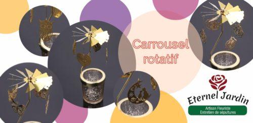 pub carrousel rotatif, photophore chat, coeur, papillon fleur, hibou