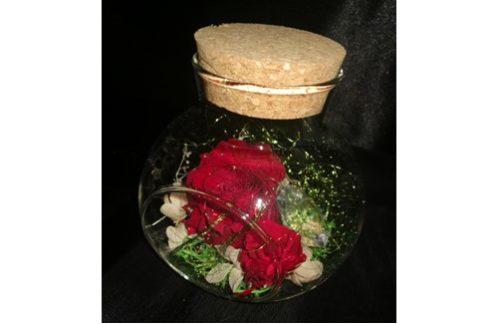 2 Roses éternelles rouge, dans vase bombé