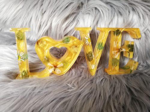 Love doré lumineux en résine, décoration à poser